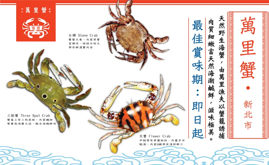 Wanli Crab(萬里蟹) includes three kinds of sea-crabs .